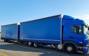 SCANIA R440. Jumbozug. 119 m3 camión con lona corredera + remolque con lona corredera